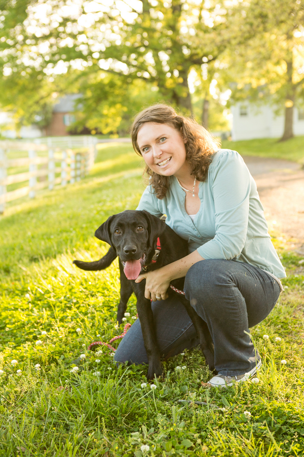 woman and lab, family portraits