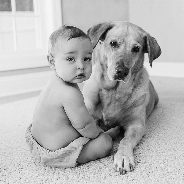 baby and yellow lab sitting together on floor