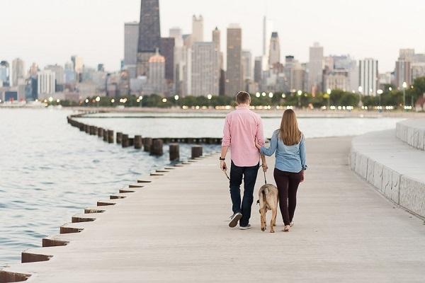 couple and their dog, city dog photos