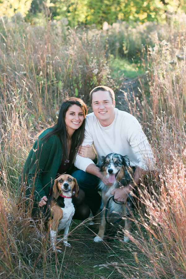 beagle and Australian shepherd, rustic engagement photos with dogs