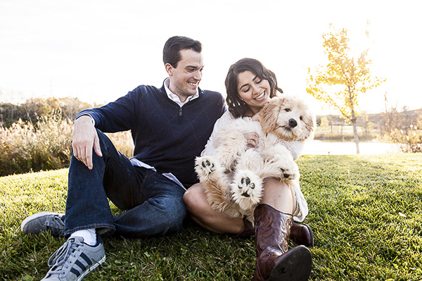 family portraits, puppy in woman's lap, fall dog photography