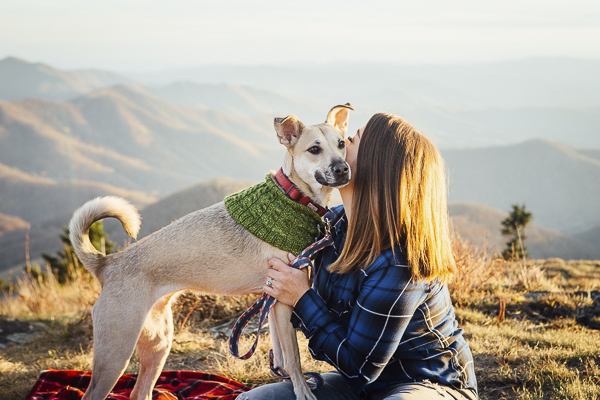 shepherd mix and woman on mountain hike, on location dog photography, bond between dog and human