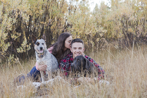 fall engagement photos with dog, Blue Heeler, Charcoal lab, engaged couple