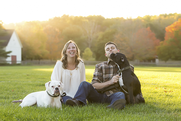fall New England engagement photos with dogs