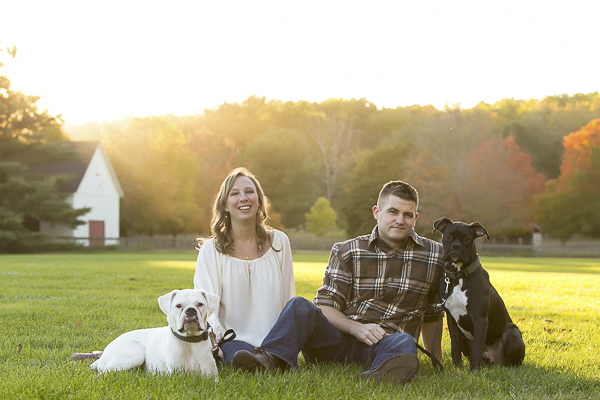brown and white Boxer, white Boxer, couple fall engagement photos