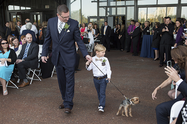 Yorkie, little boy, man walking down wedding aisle, dogs in weddings