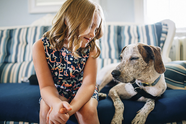 little girl relaxing with Pointer Mix before wedding,