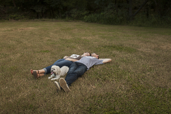 creative engagement portraits, including a dog in engagement session