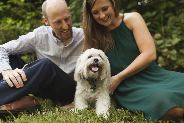 dog with mustache, engagement pictures with dog