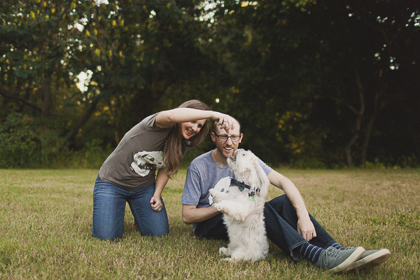 dog sitting pretty during engagement session, dog photography ideas