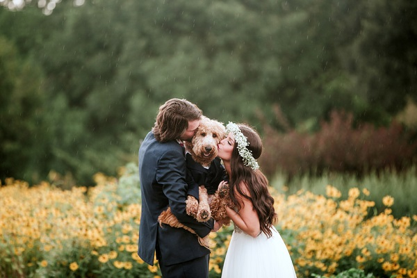 bride and groom holding dog between them , just married couple kissing their dog