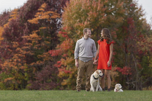 Gorgeous fall photos with dogs, Pittsburgh engagement photography