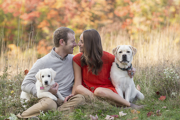 couple and their dogs in field, fall foliage,