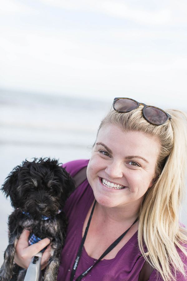 woman smiling while holding puppy at beach, Schnauzer-Poodle mixed breed, Schnoodle