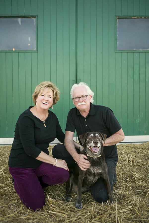 couple and senior Chocolate Lab, Nashville pet photography