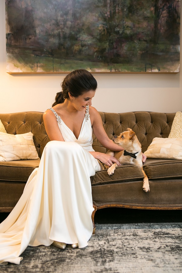 bride looking at brown dog lying on couch, wedding dog
