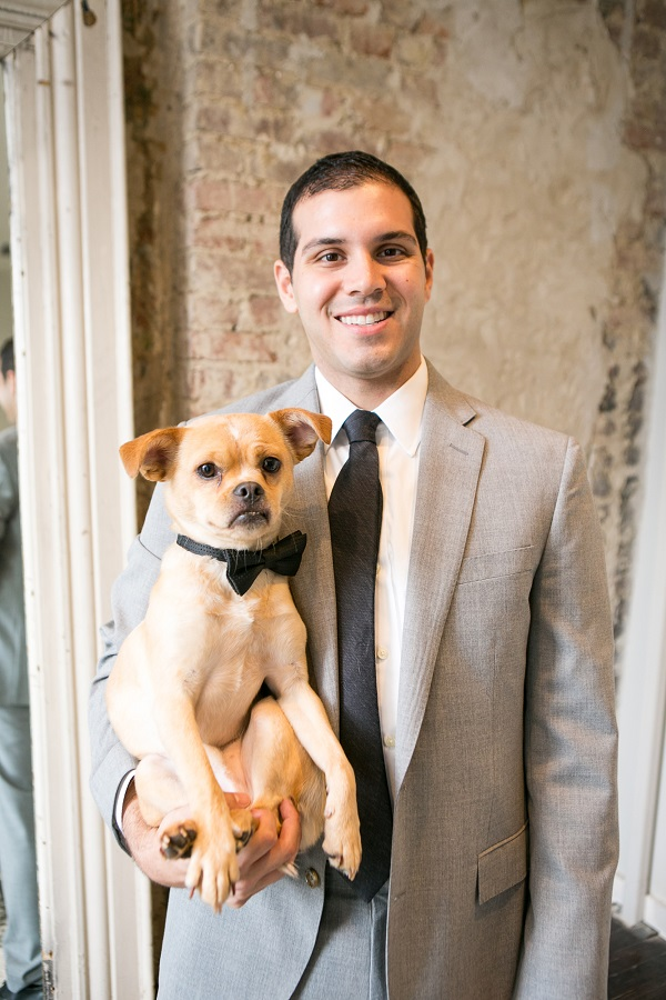 groom holding small dog wearing bow tie, including dogs in your wedding