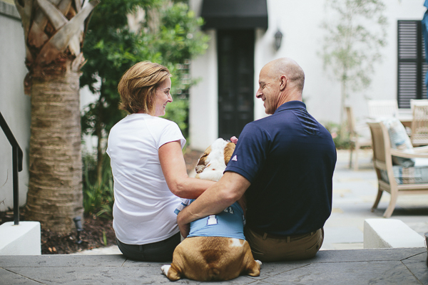 family photos with English Bulldog, on location dog photography