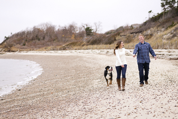 Greater Swiss Mountain Dog and couple on Cape Cod beach