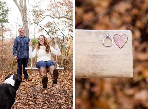 fall engagement photos with dog, ring shot