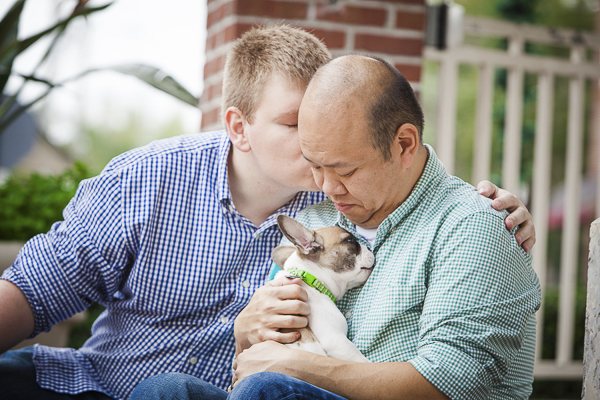 couple and puppy, engagement photos with dogs