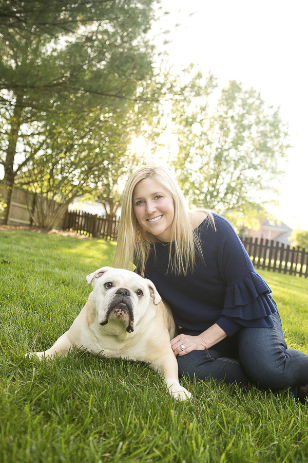 family portraits with dogs, English Bulldog and woman, love between dogs and people
