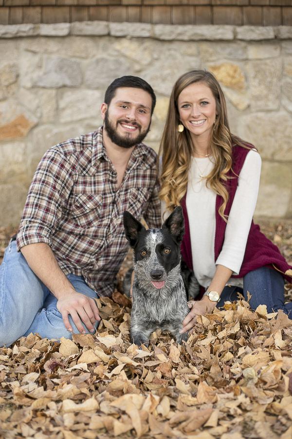 couple, dog, fall leaves,