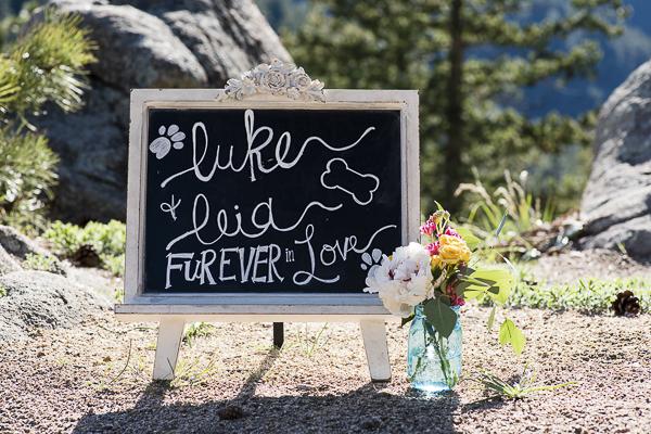 chalkboard sign for dog elopement