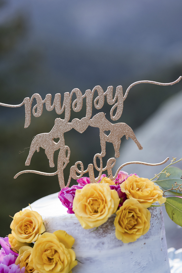 Pit bull puppy love cake topper