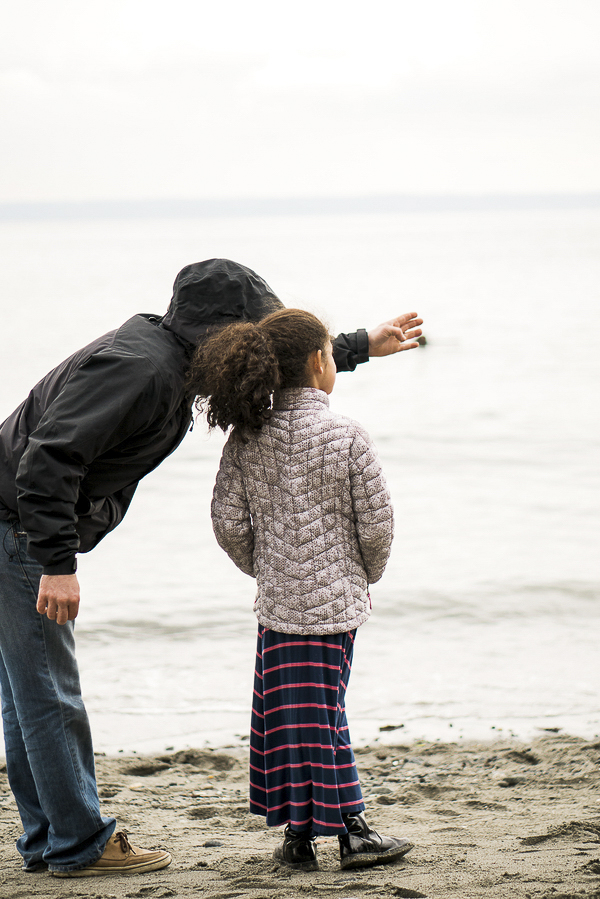 man and girl on beach, Puget Sound family adventure