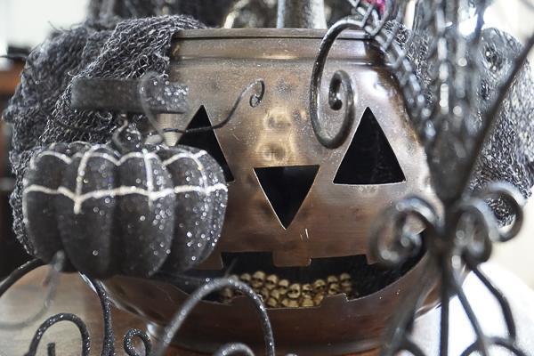 copper Jack O Lantern vase