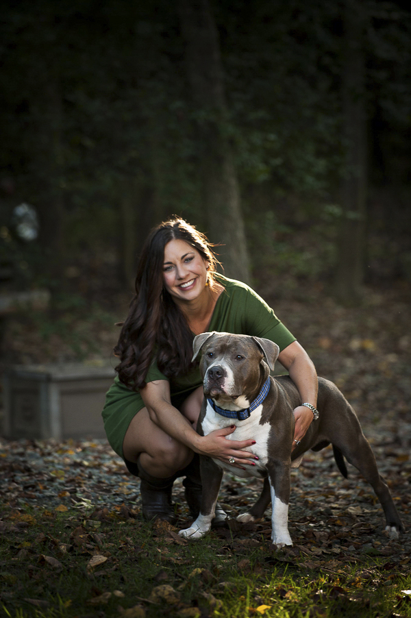 therapy dog, Pit bull and brunette, dog photographer