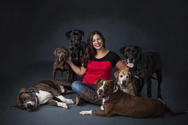 dog lover, woman with 6 dogs, studio dog portraits