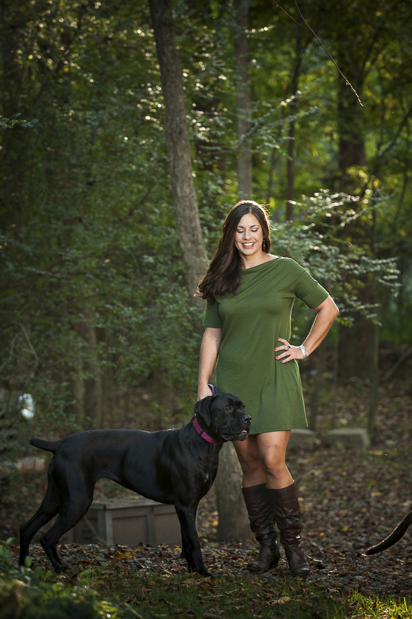 Cane Corso and woman, lifestyle dog photography