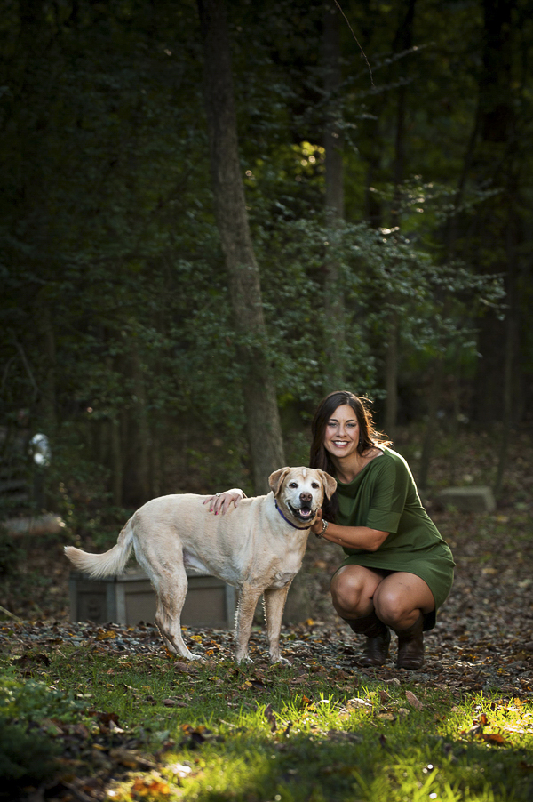 yellow lab mix and woman in green dress, on location dog photography