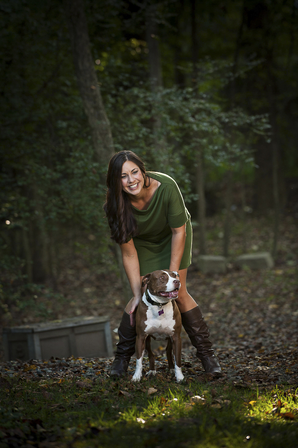 woman and Pit bull, professional pet photography