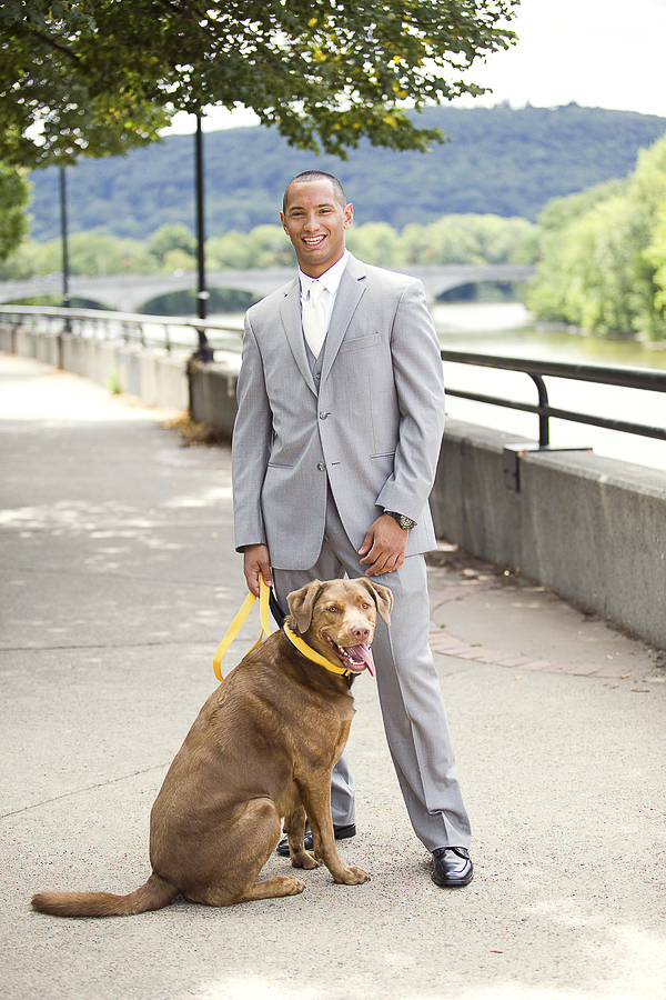 groom and dog, wedding photos with dog