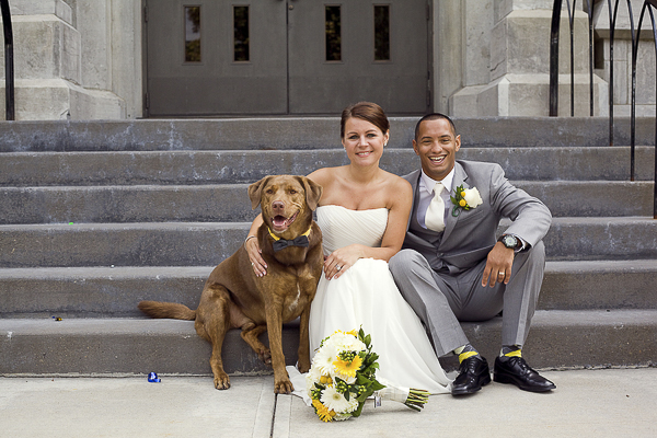 dog, bride, groom sitting on church steps, wedding dog