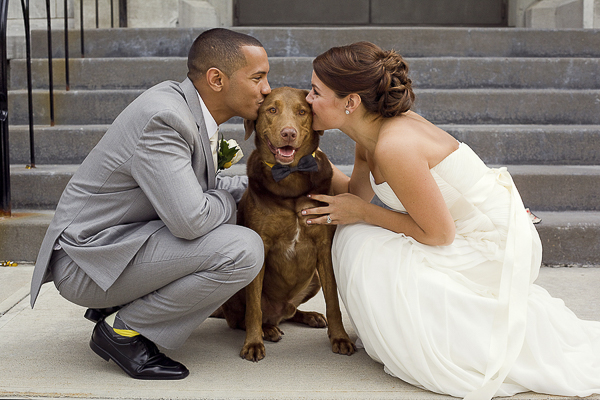 bride and groom kissing dog, wedding pictures with dog