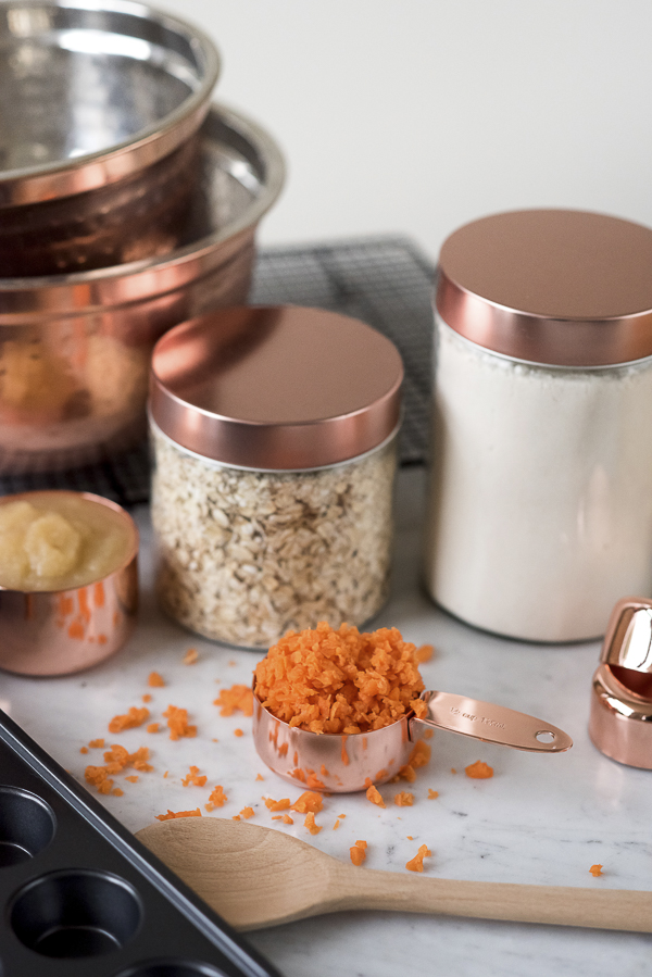 copper kitchen canisters, ingredients for carrot pupcakes, cupcakes for dogs