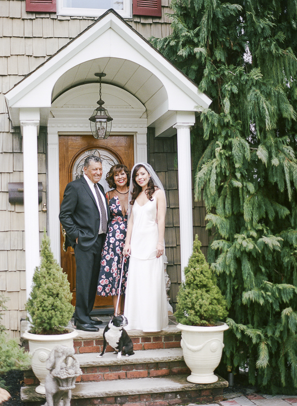 parents of the bride, dog, bride, wedding family portraits