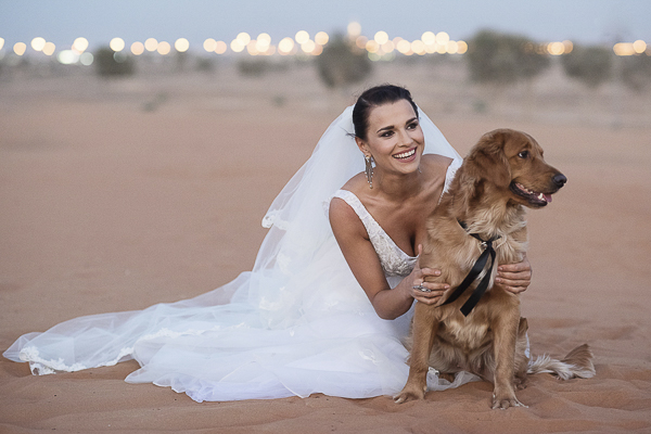 bride and dog, wedding dog