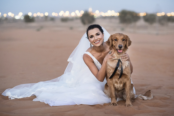 Bride and Golden Retriever, Dubai wedding, styled shoot