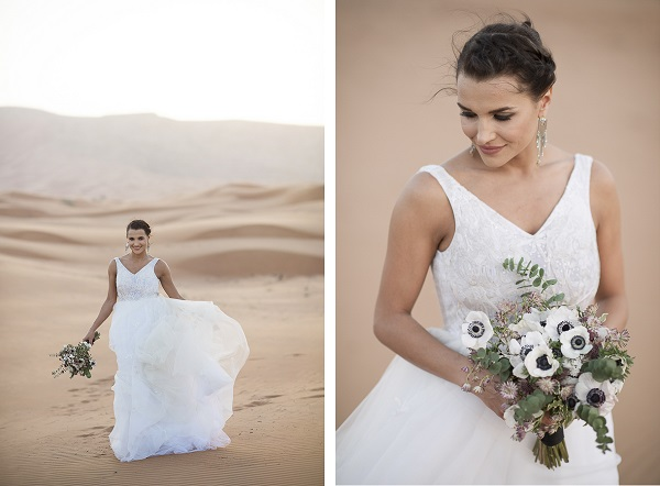 white wedding dress, Dubai sand dunes