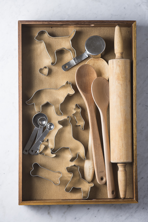 Baking drawer, dog shaped cookie cutters, rolling pin