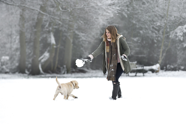 woman tossing giant snowball to puppy, puppy's first snow
