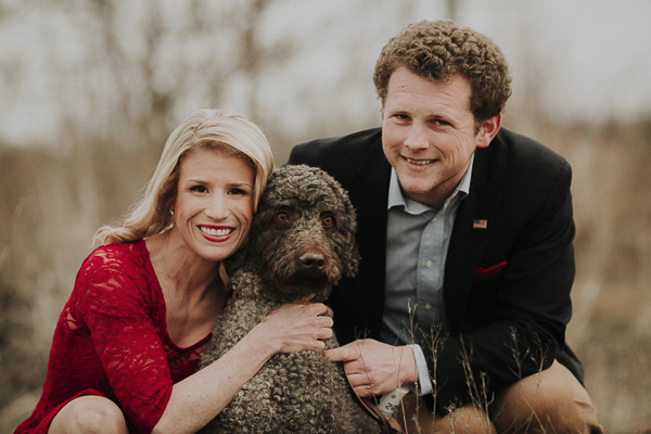 engagement portraits with dog, Labradoodle and couple
