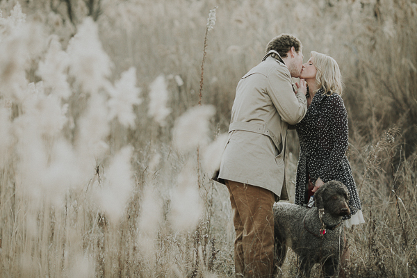 winter engagement photos with dog,