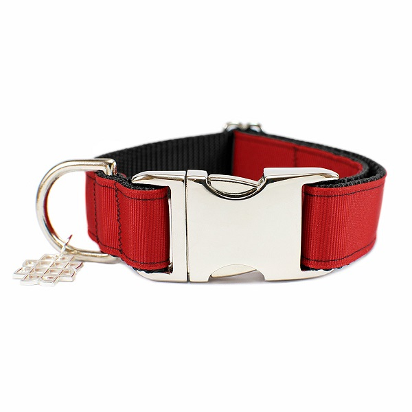 cranberry red collar, artisan collar, dog collar