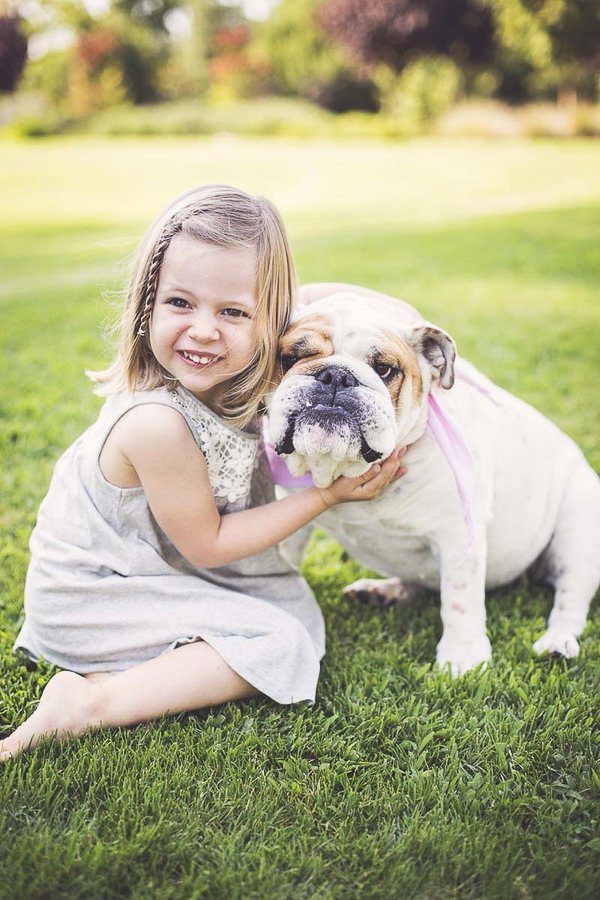 little girl and her English Bulldog sitting on grass, best friends, girl and her dog